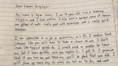 Ryan Lowry's cover letter to employers